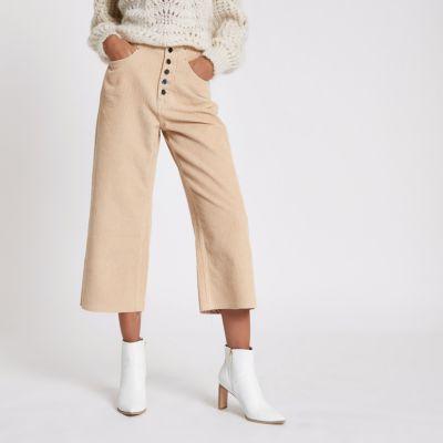 Peach Alexa Crop Corduroy Wide Leg Trousers by River Island