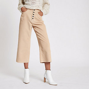 Peach Alexa crop corduroy wide leg trousers