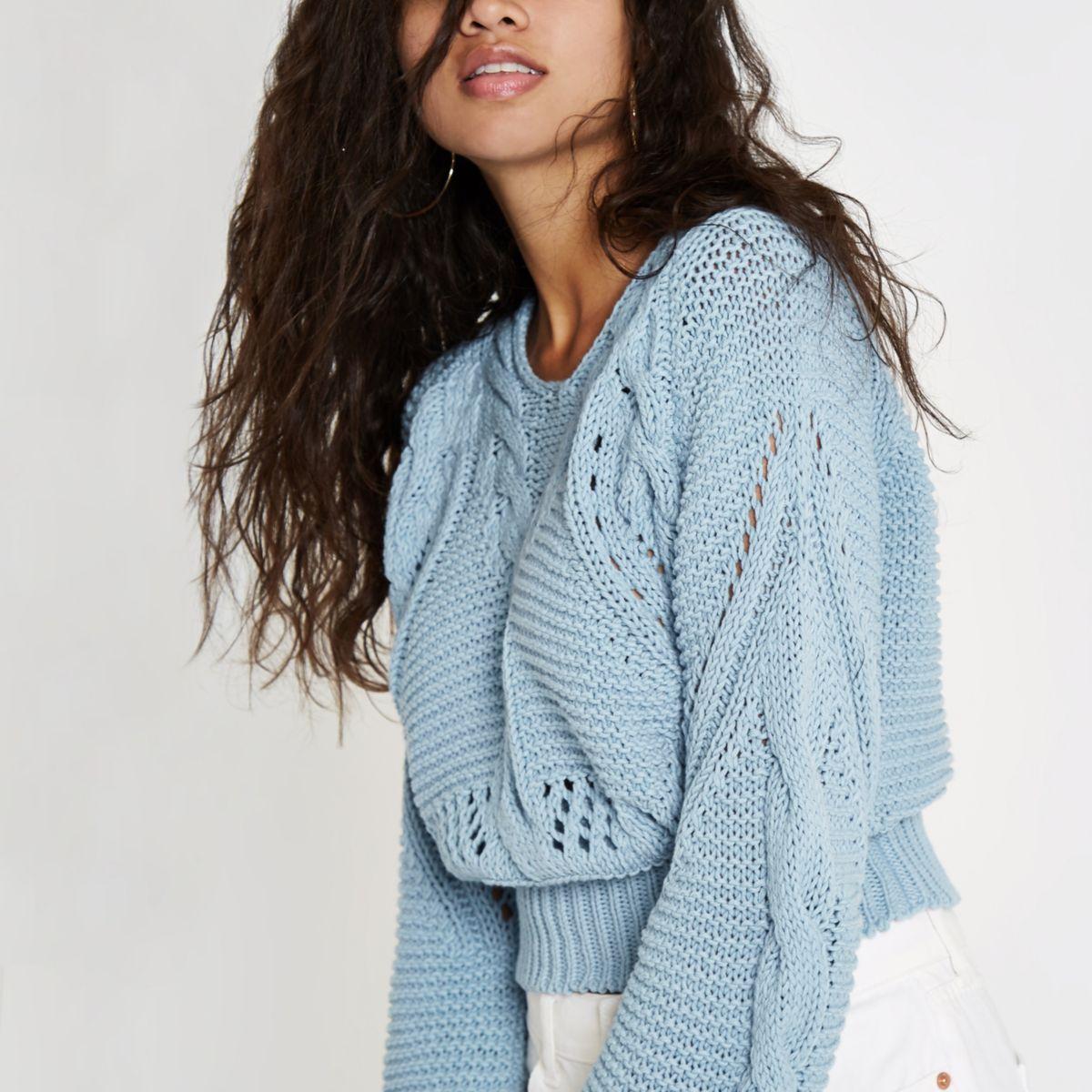Light blue chunky knot sweater