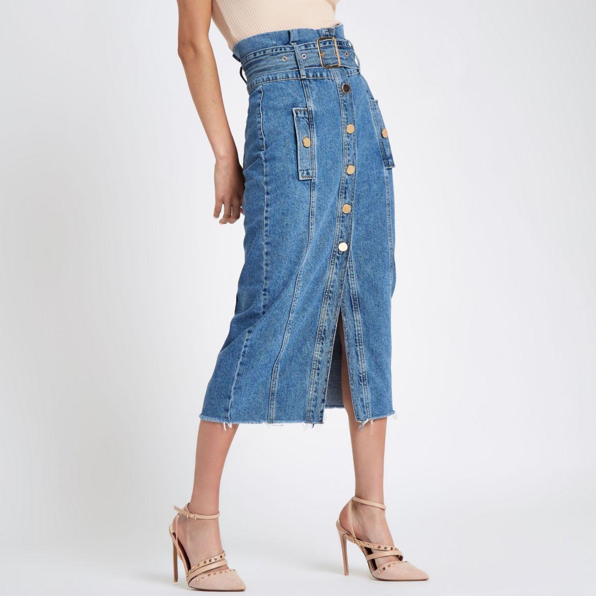 Mid blue button belted denim pencil skirt