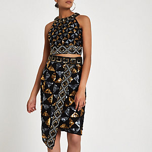 Black geo sequin embellished pencil skirt