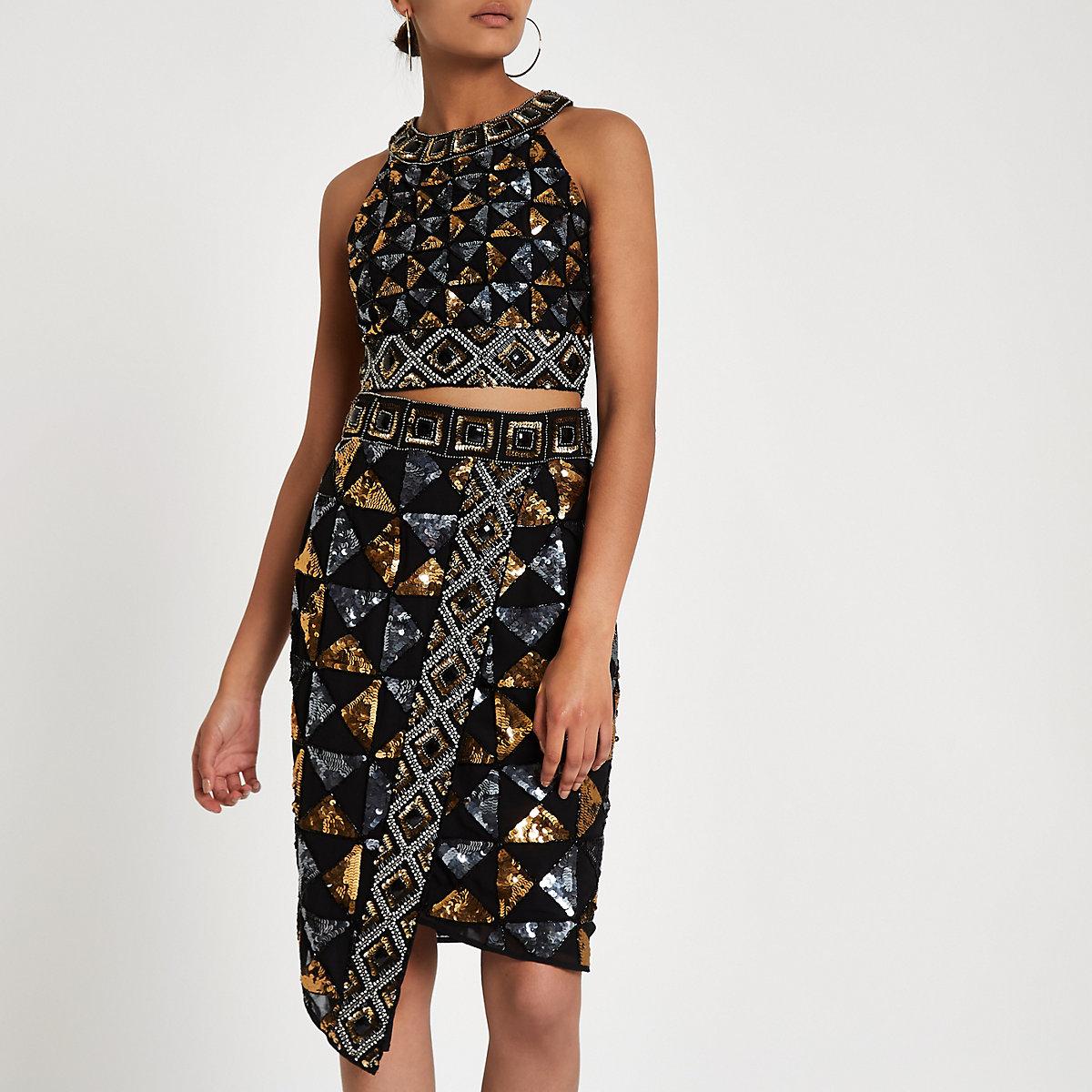 8c9dec397de7d Jupe crayon noire à motifs géométriques ornée de sequins - Jupes ...