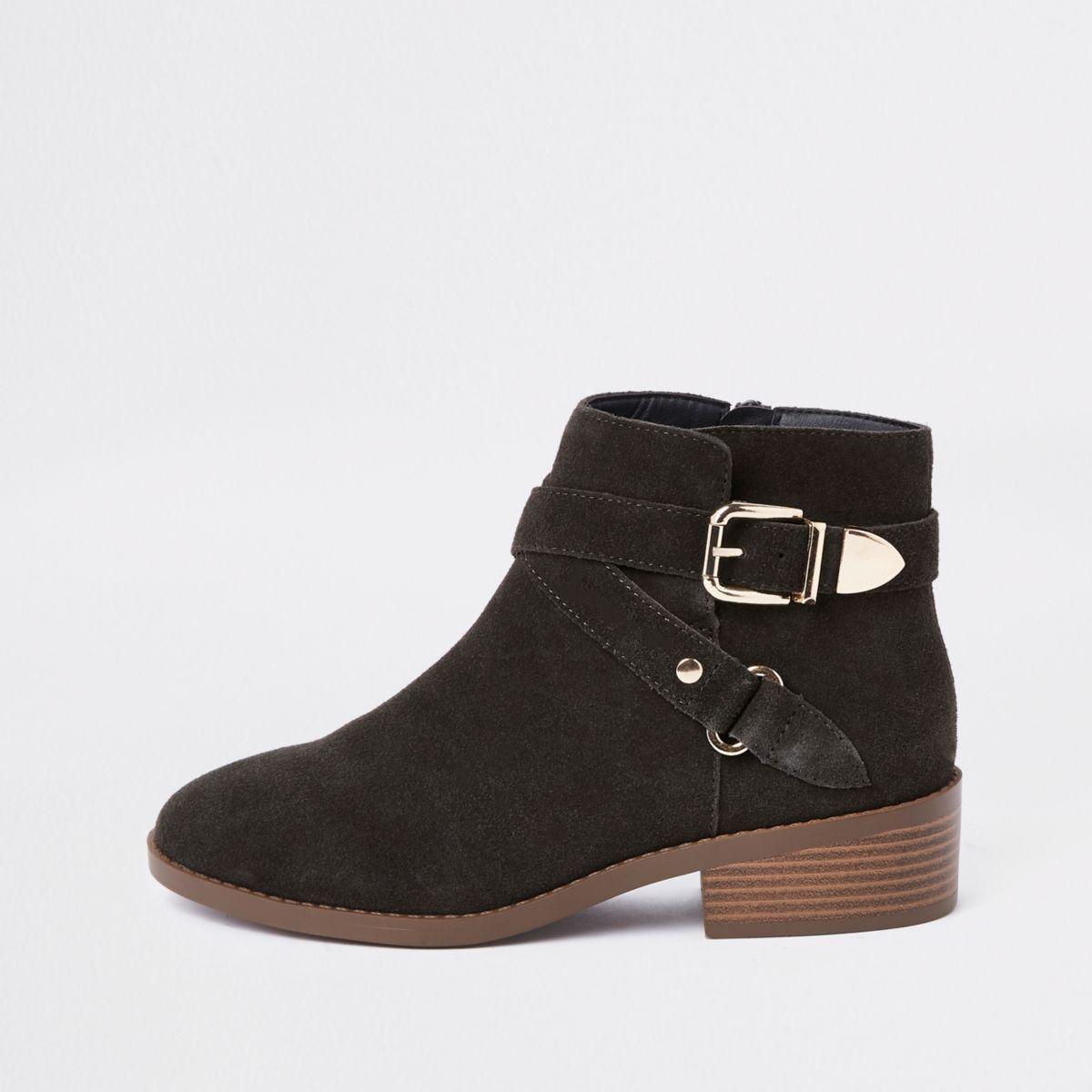 Dark grey suede buckle ankle boots