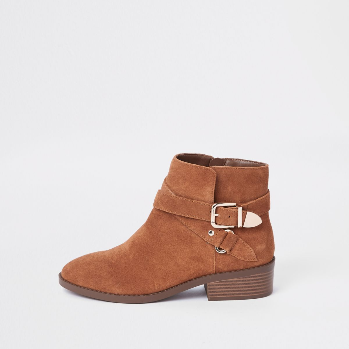 Light brown suede double buckle ankle boot