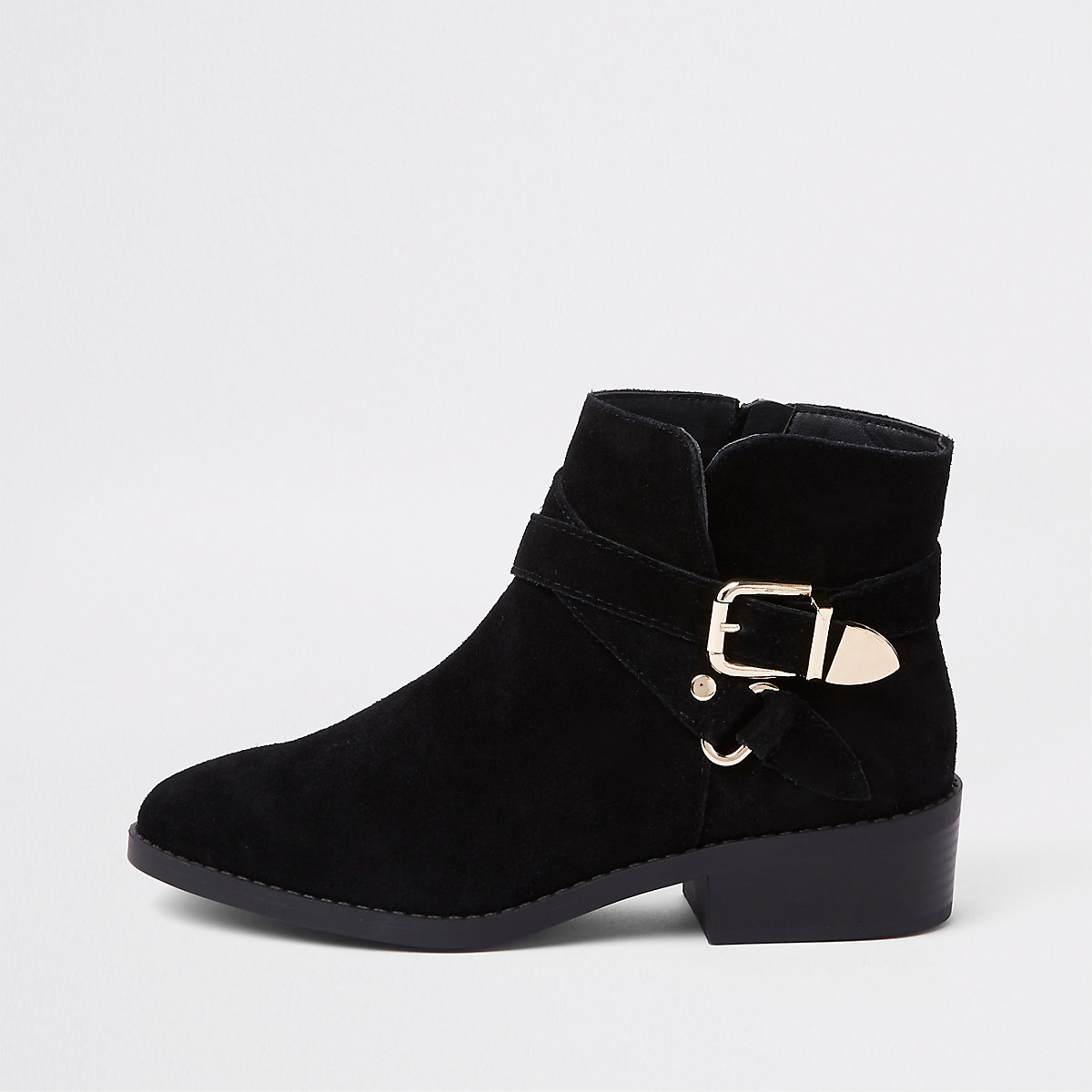 Black wide fit suede buckle ankle boots