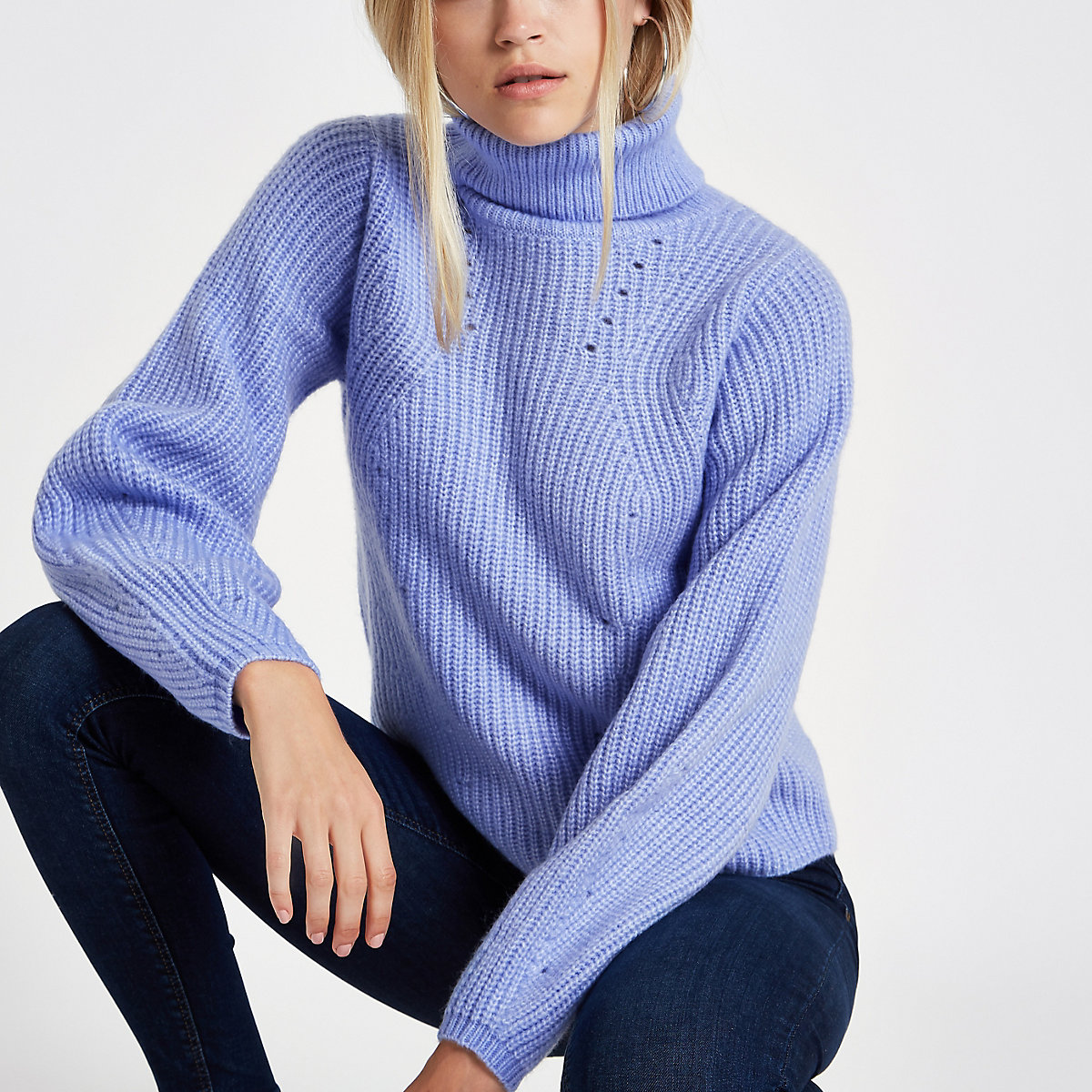 Light blue knitted roll neck sweater