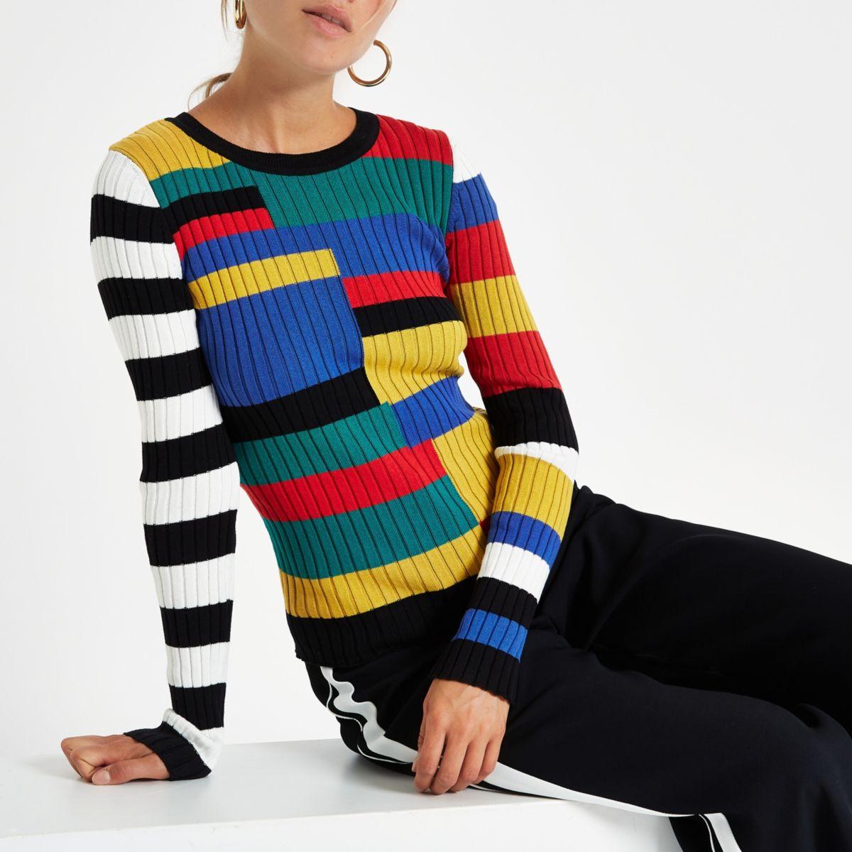 Black stripe knitted long sleeve top