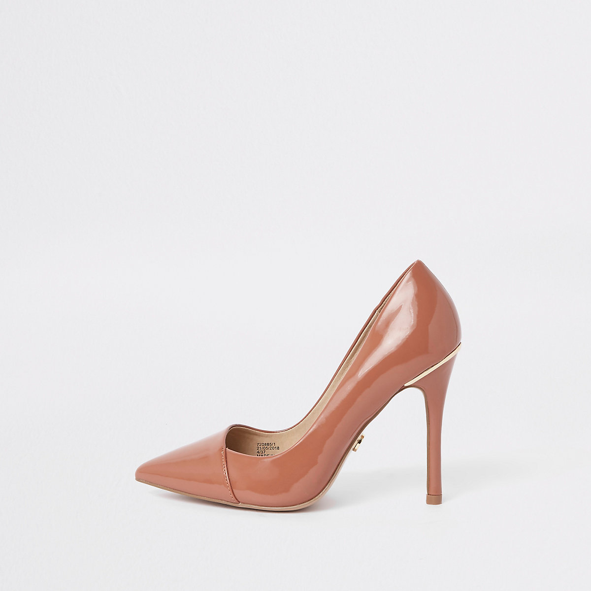 Tan wide fit patent pointed toe pumps