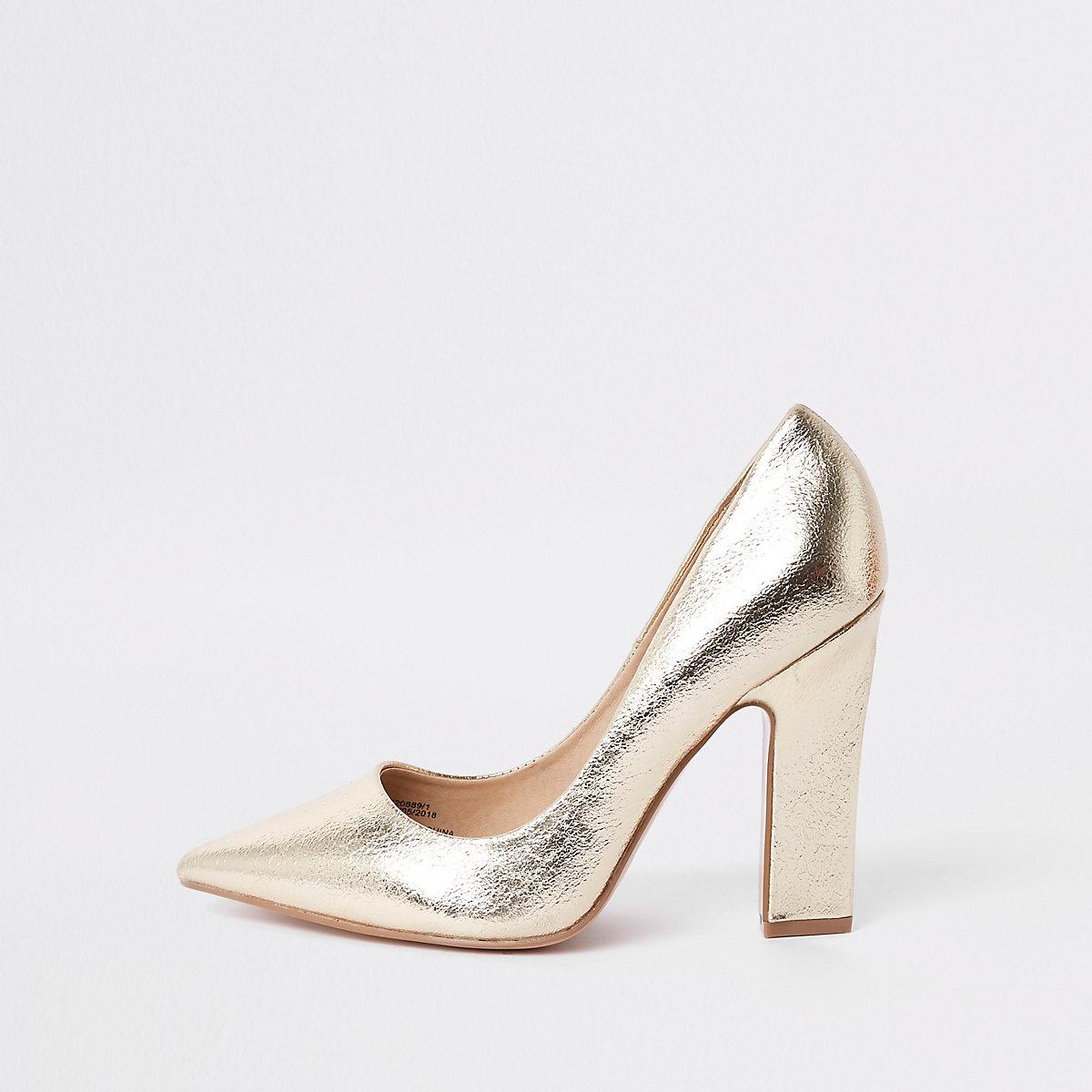 Gold wide fit razor heel court shoes