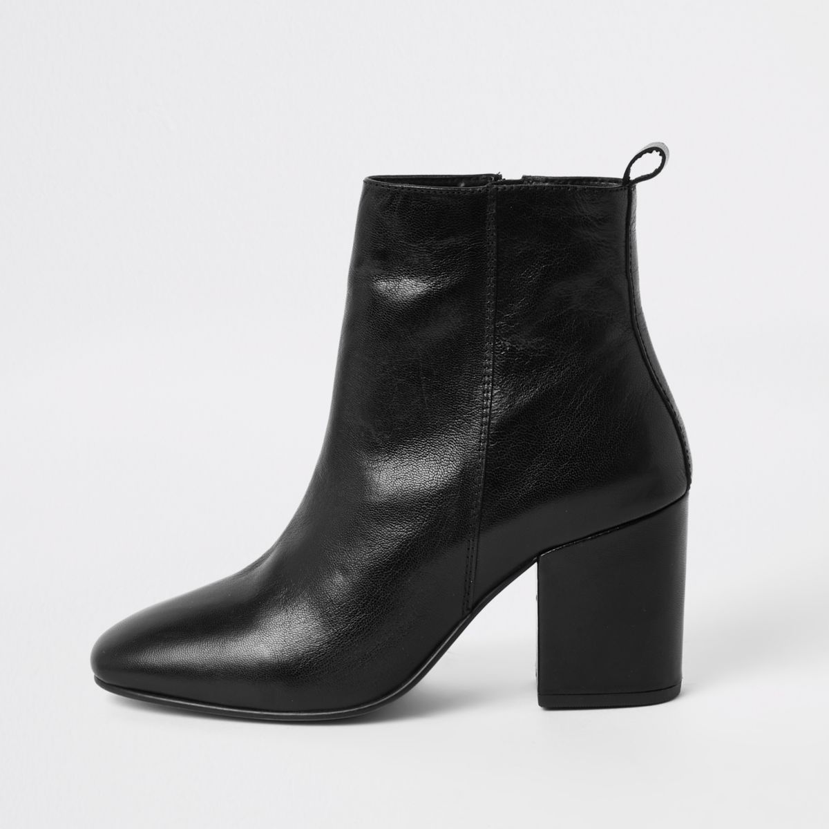 Black leather square toe boots