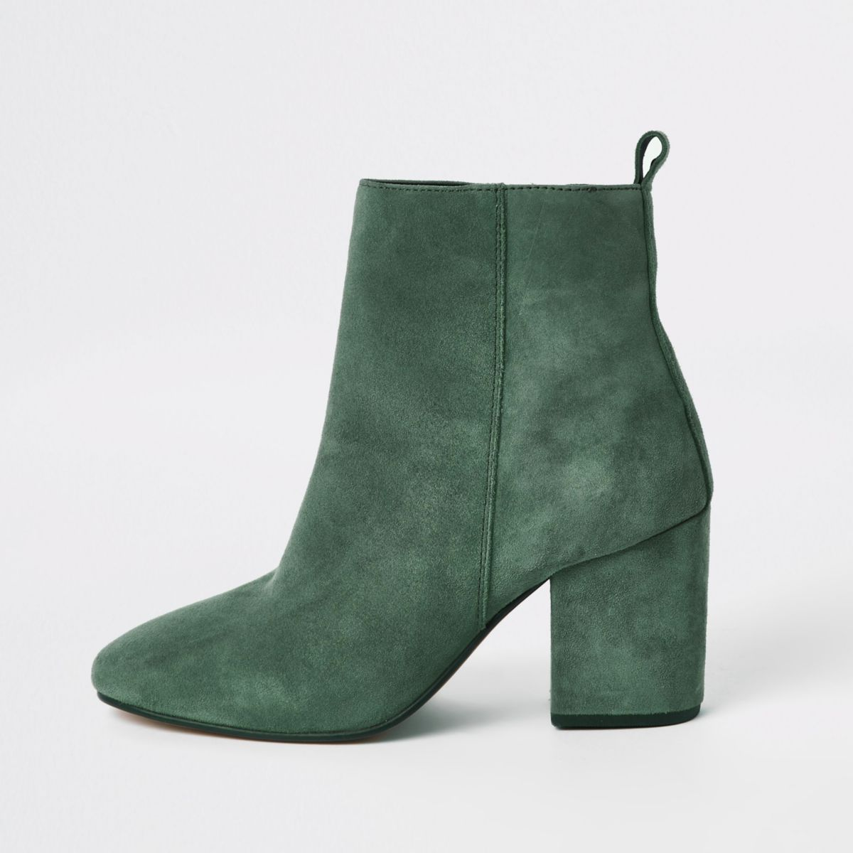 Green leather square toe boots