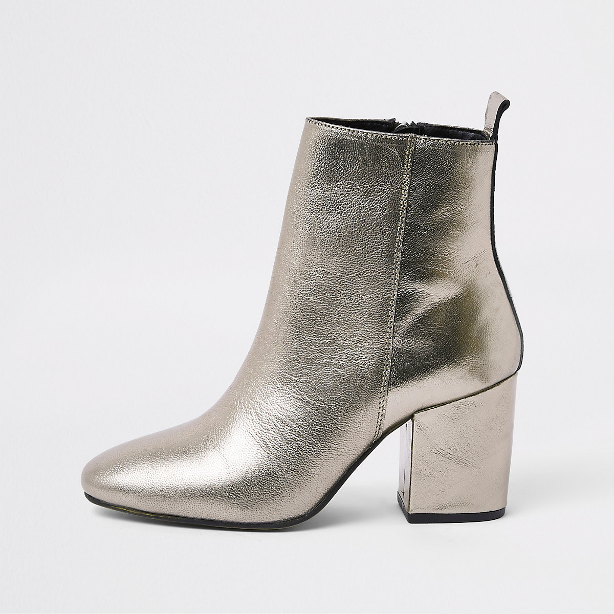 Silver metallic pointed square heel boots
