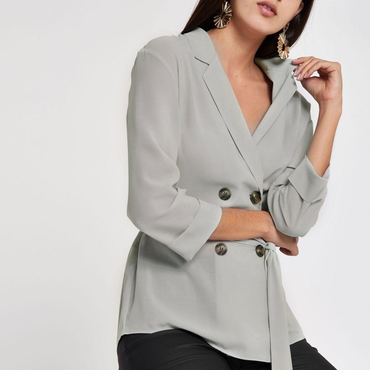 Grey short sleeve button shacket