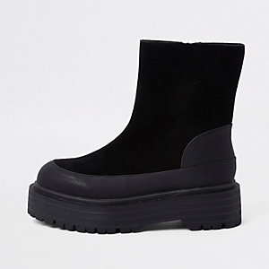 Black suede fabric chunky sole boots