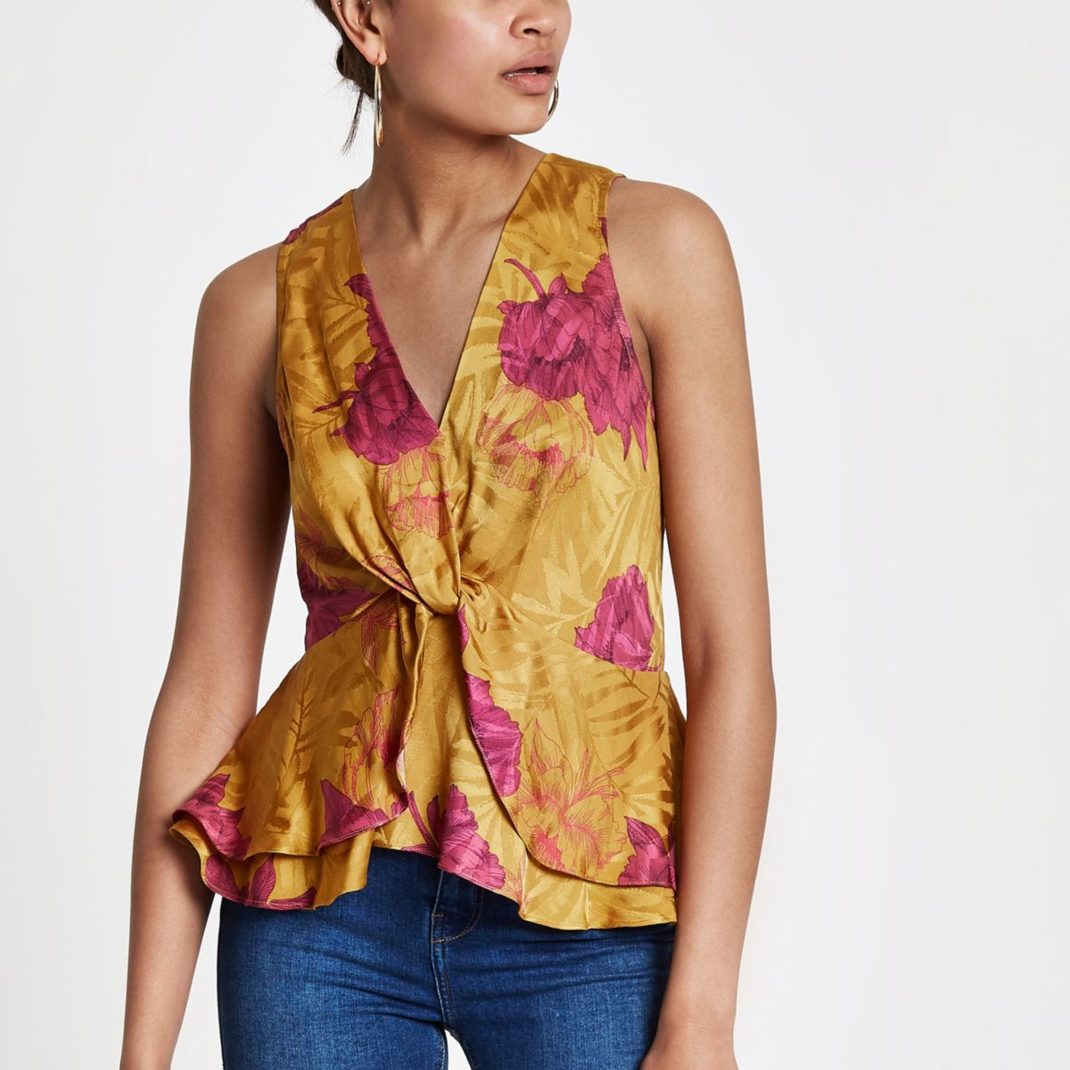 Yellow floral twist front frill hem top