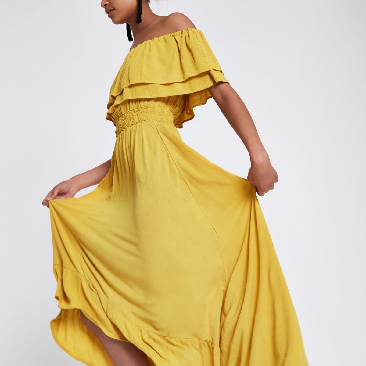 Yellow frill bardot maxi dress
