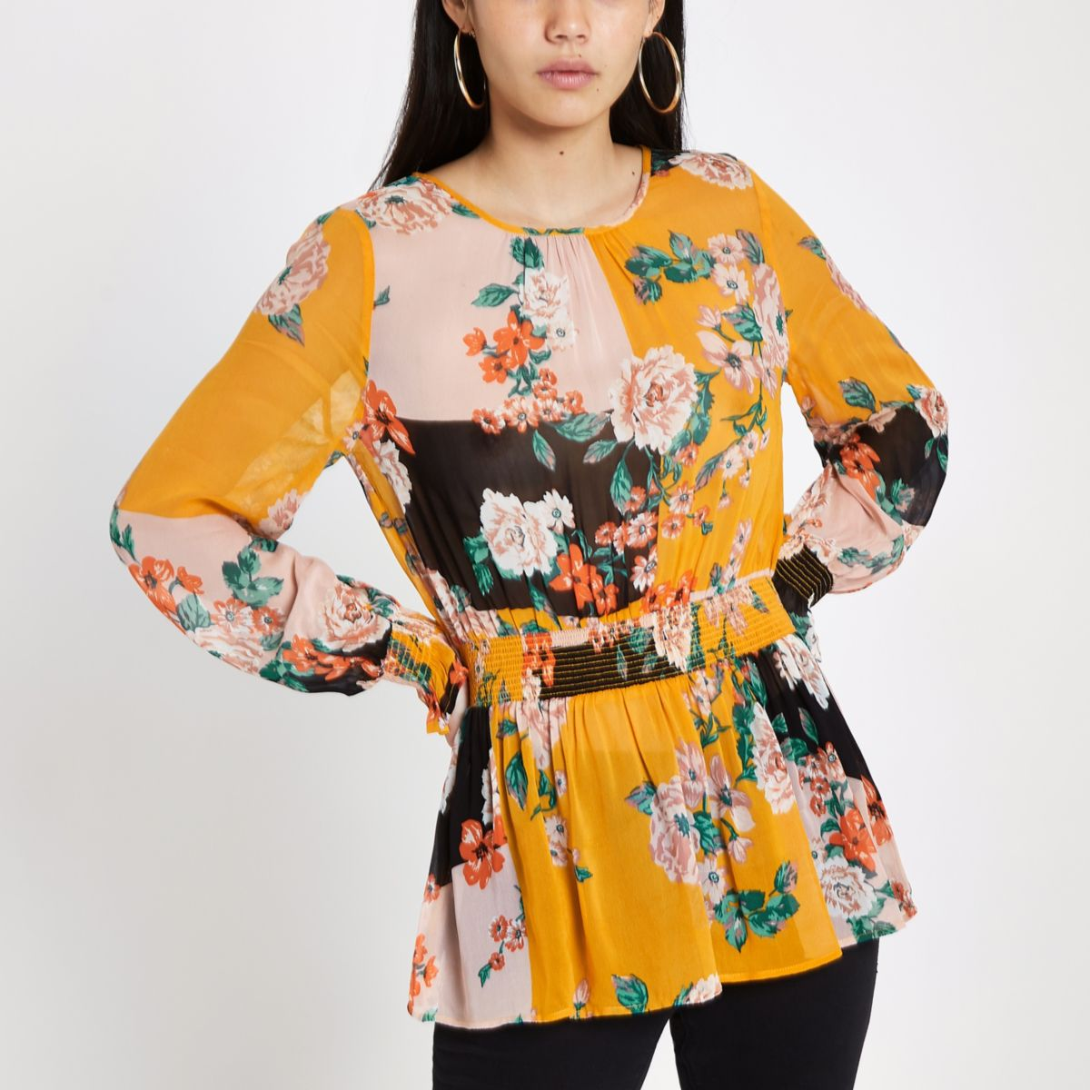 Orange floral print shirred blouse