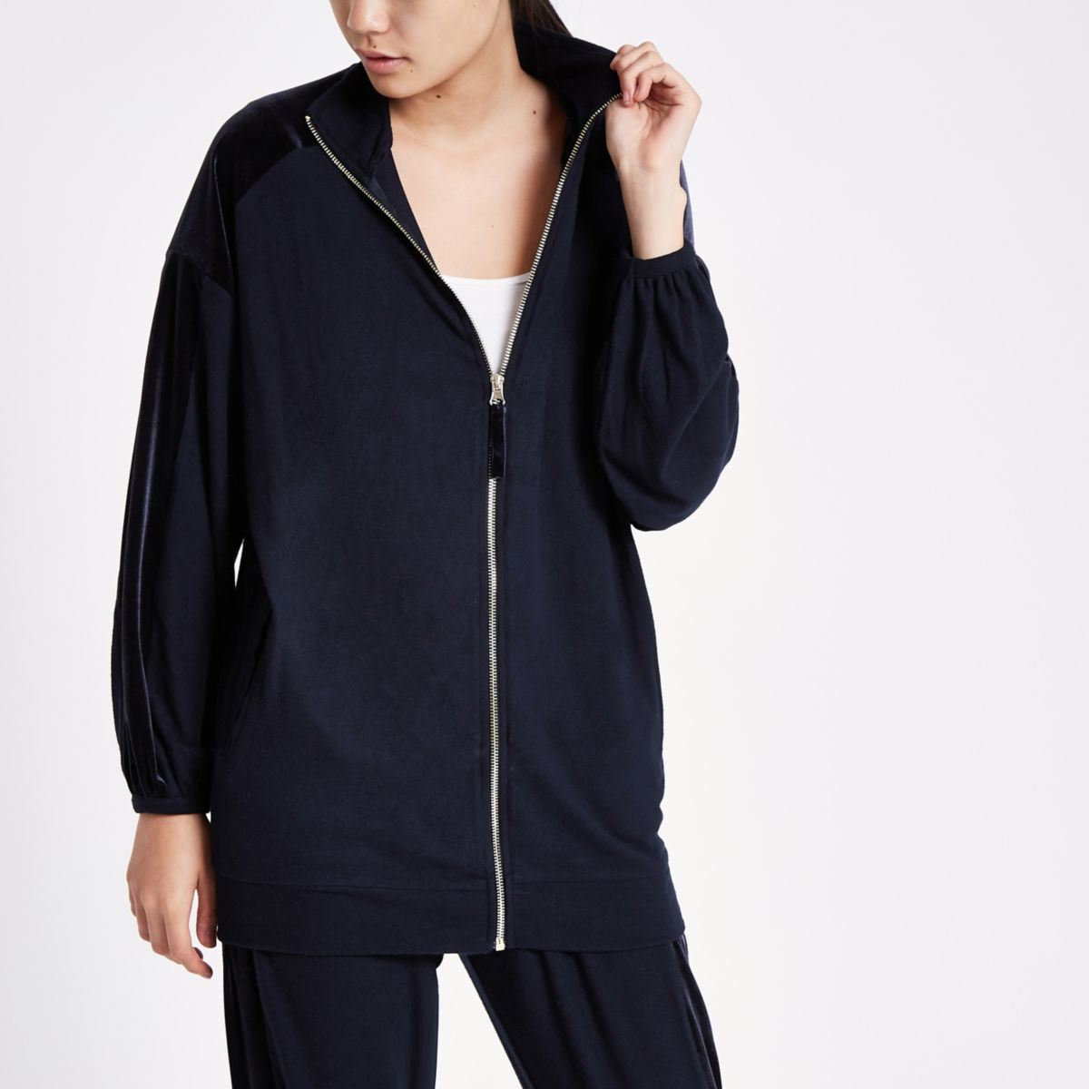 Navy over sized zip through lounge jacket