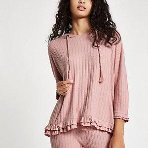 Pink rib loungewear hoodie