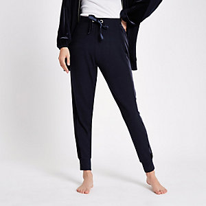 Marineblauwe loungewear joggingbroek