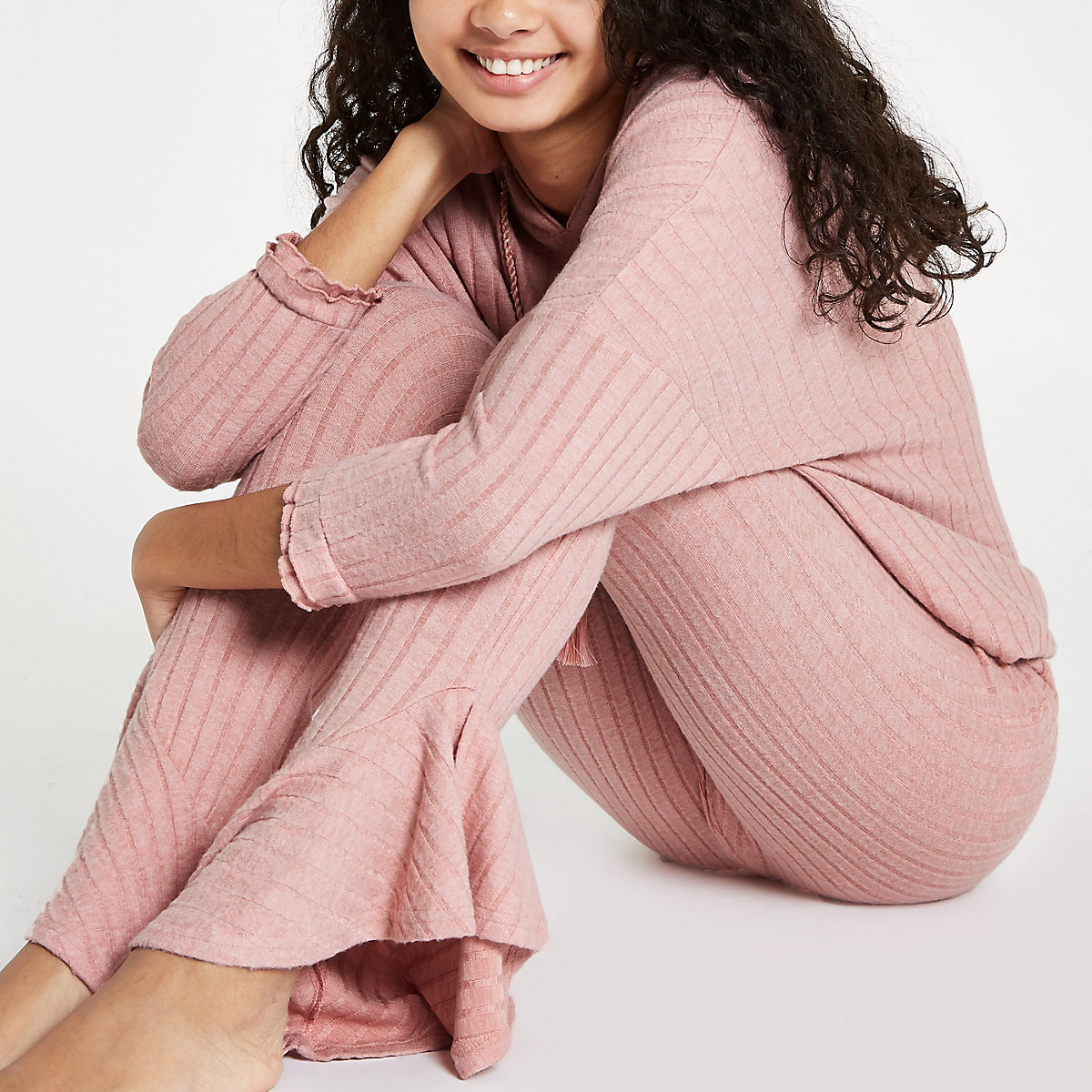 Pink rib loungewear trousers