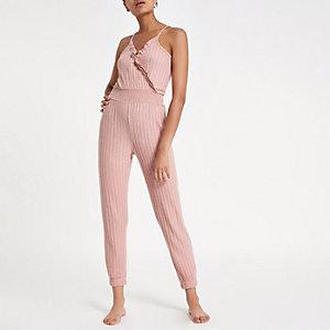 Roze gemêleerde geribbelde jumpsuit met overslag en ruches