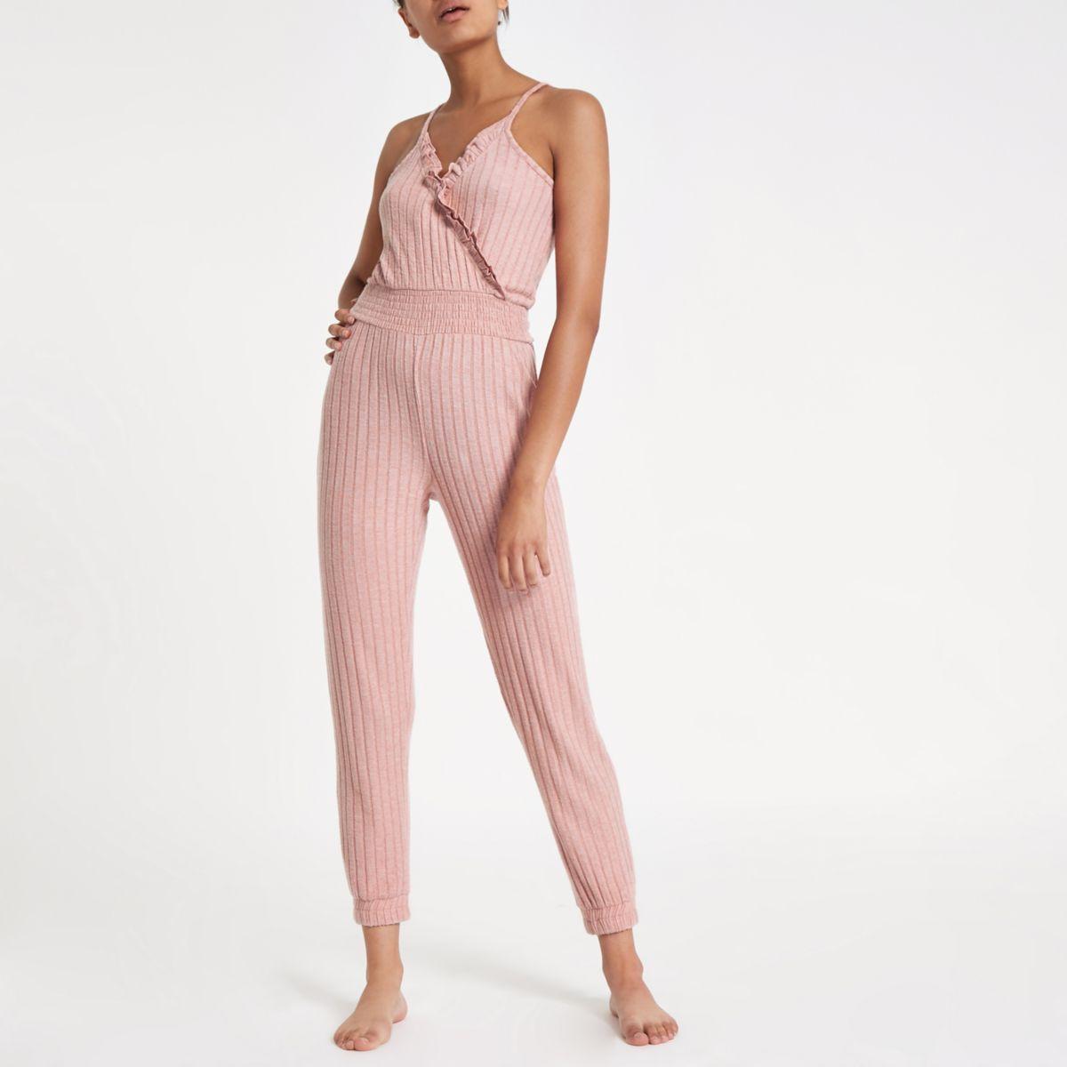 Pink rib loungwear jumpsuit