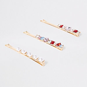 Gold tone pearl hair clip multipack