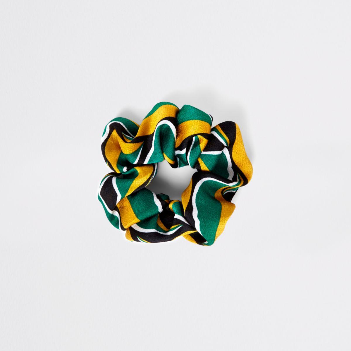 Groene scrunchie met bladprint