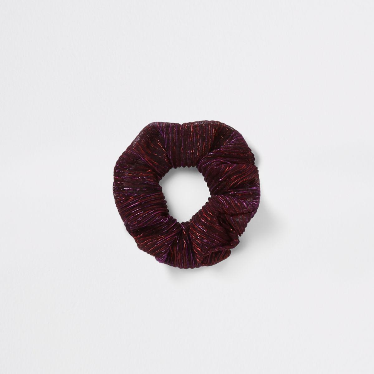 Pink metallic stripe scrunchie