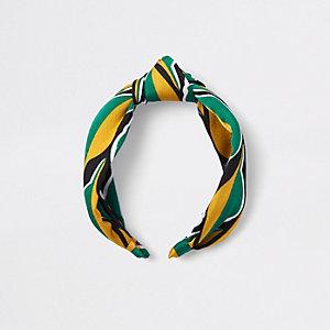 Green leaf print headband