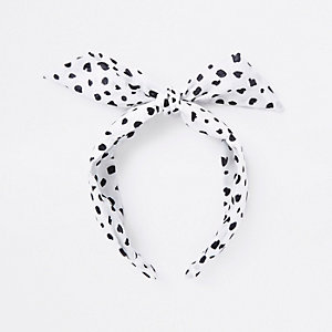 White polka dot knot head band