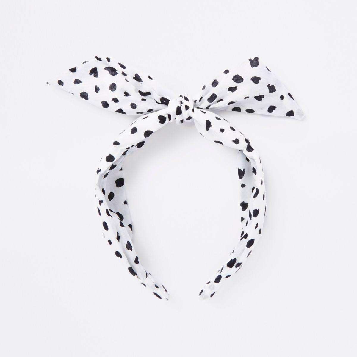 White polka dot knot head band