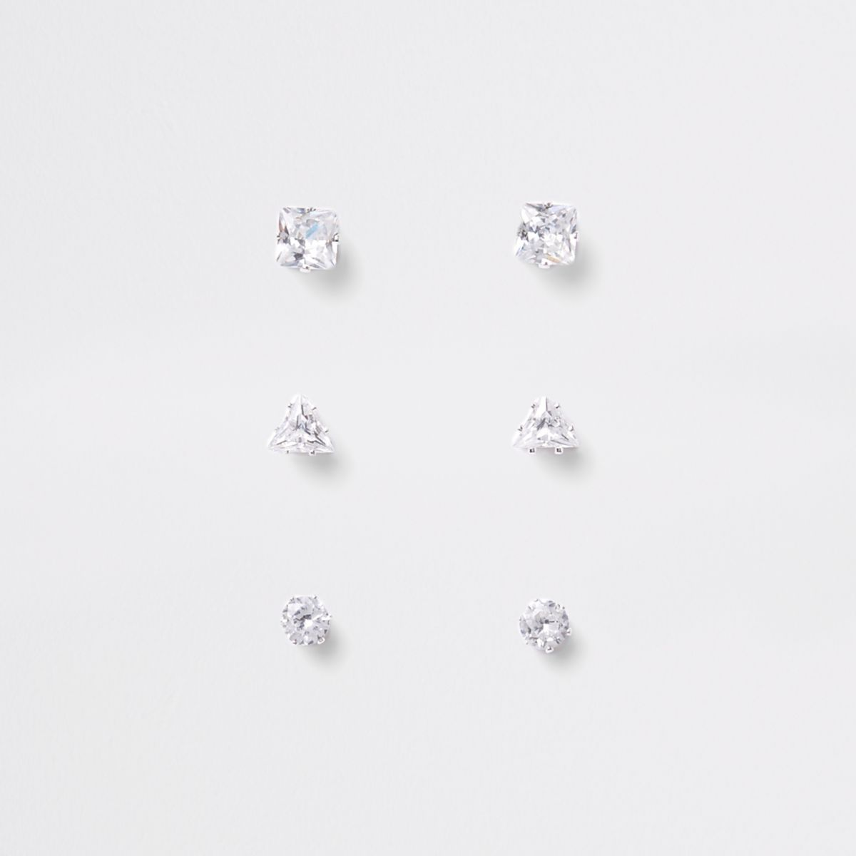 Silver plated cubic zirconia stud multipack