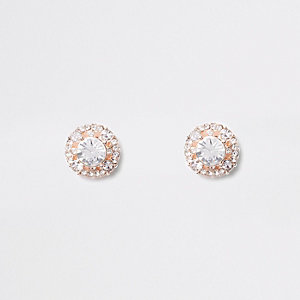 Gold tone cluster rhinestone dome stud earrings