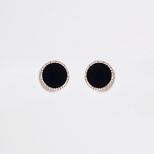 Black large round diamante clip on earrings