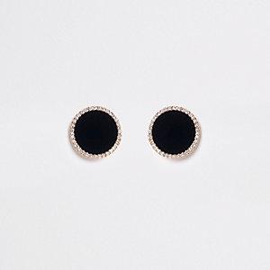 Zwarte grote ronde oorbellen met clip en diamantjes