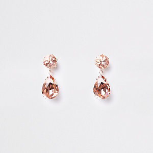 Rose gold mini jewel drop stud earrings