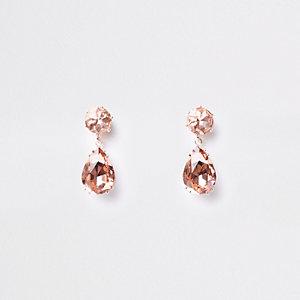 Mini clous d'oreilles or rose avec pendentifs strass