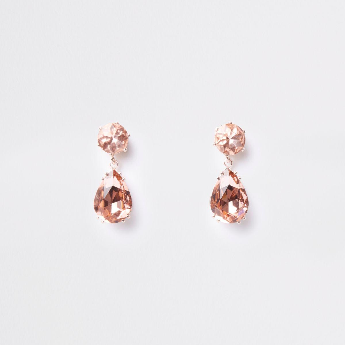 Rose gold mini jewel drop stud earrings