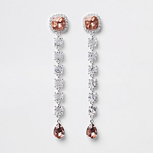 White silver tone diamante drop earring