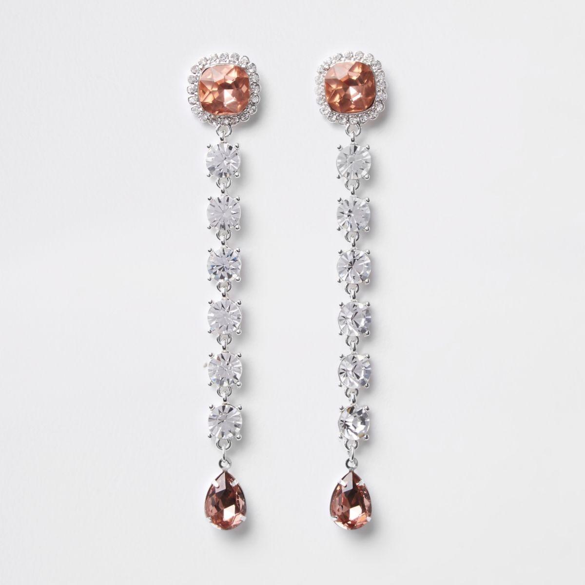 White silver tone diamante drop earring