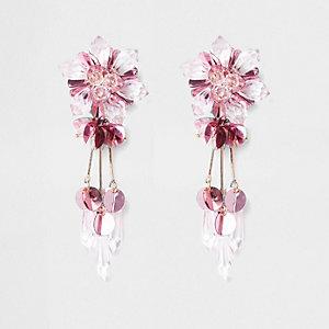 Boucles d'oreilles à clipser roses à perles avec fleurs en sequins