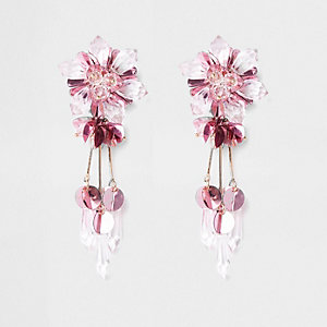 Roze oorclips met kraaltjes, pailletten en bloem