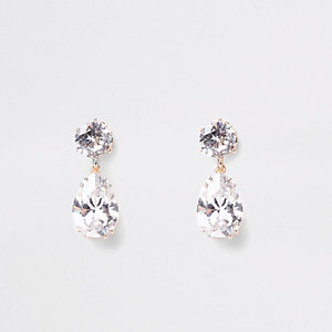Gold tone cubic zirconia clip on earrings