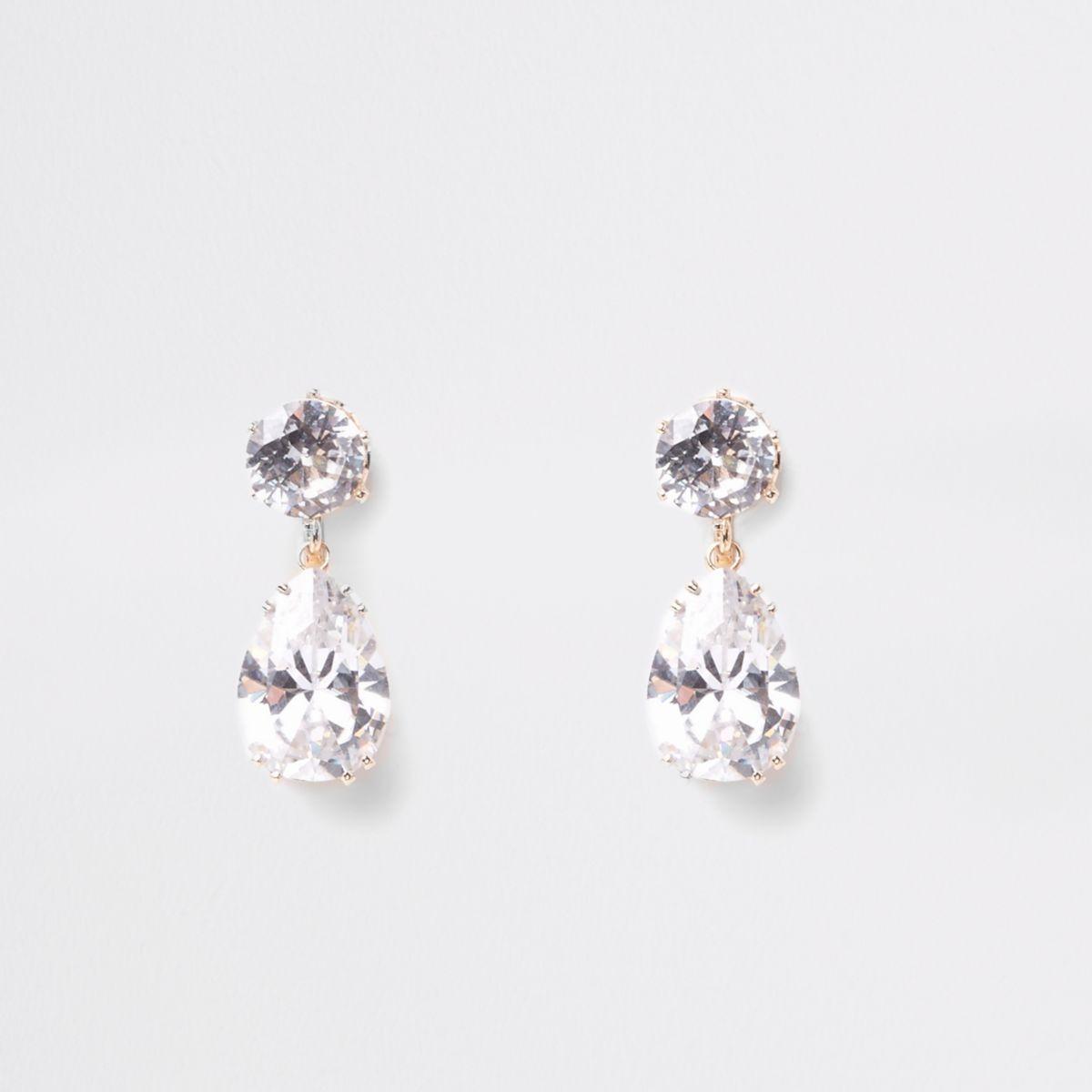 Gold tone cubic zirconia clip on earrings