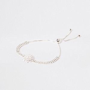 Silver tone floral diamante lariat bracelet