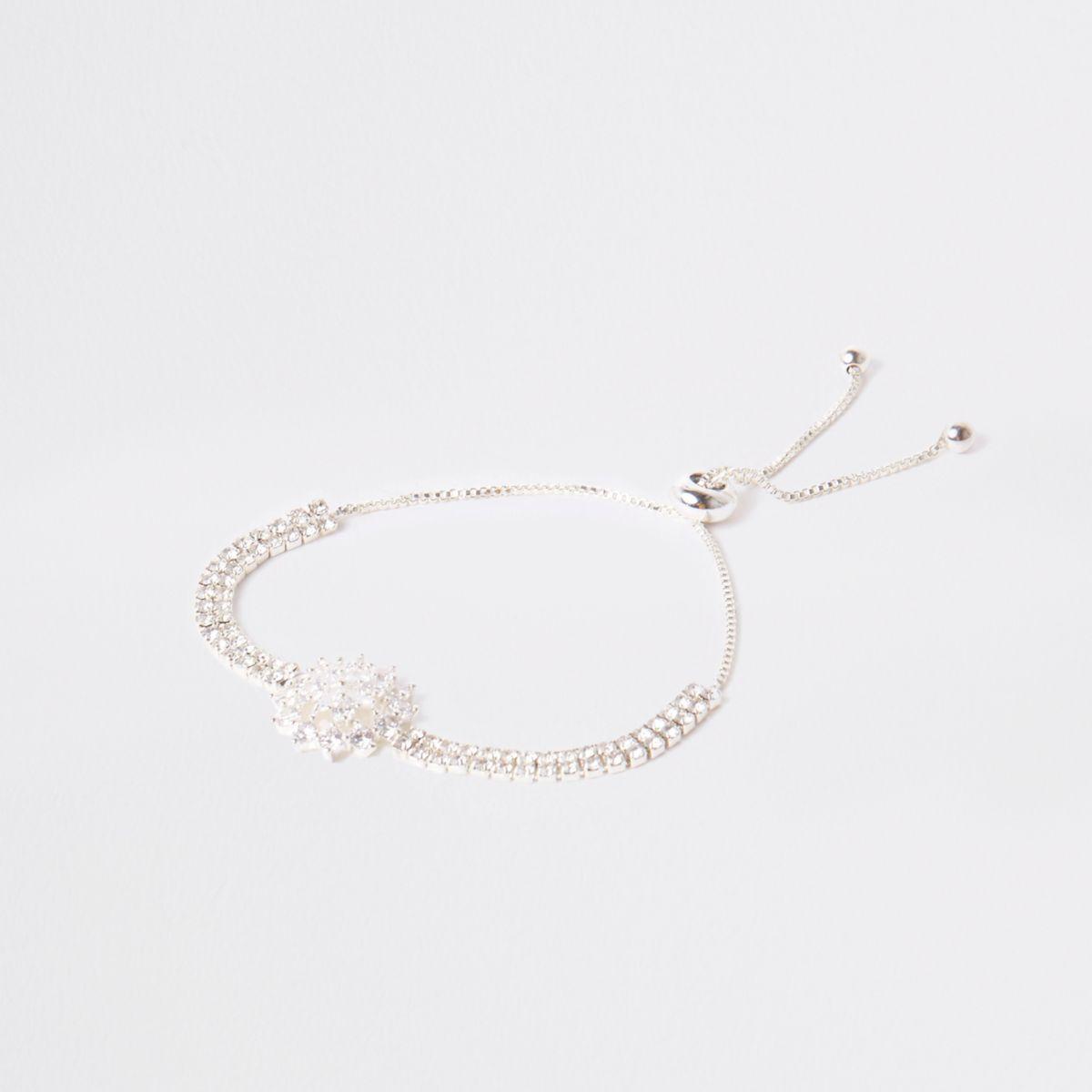 Silver tone floral rhinestone lariat bracelet