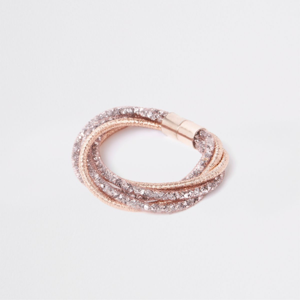 Orange mesh rhinestone cluster bracelet