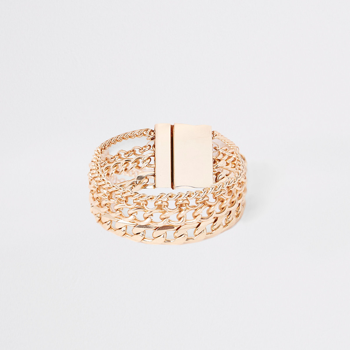 Gold tone mixed chain bracelet